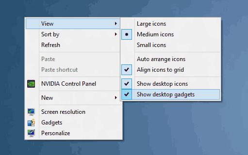 Desktop Gadgets For Windows 10 Menu