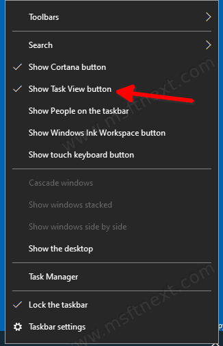 Disable Task View Button In Windows 10 Taskbar