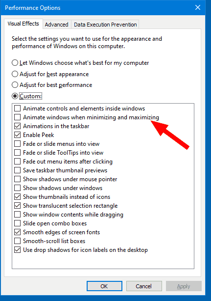 Disable Windows Animations in Windows 10