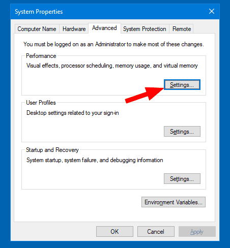 System Properties Advanced Settings Button