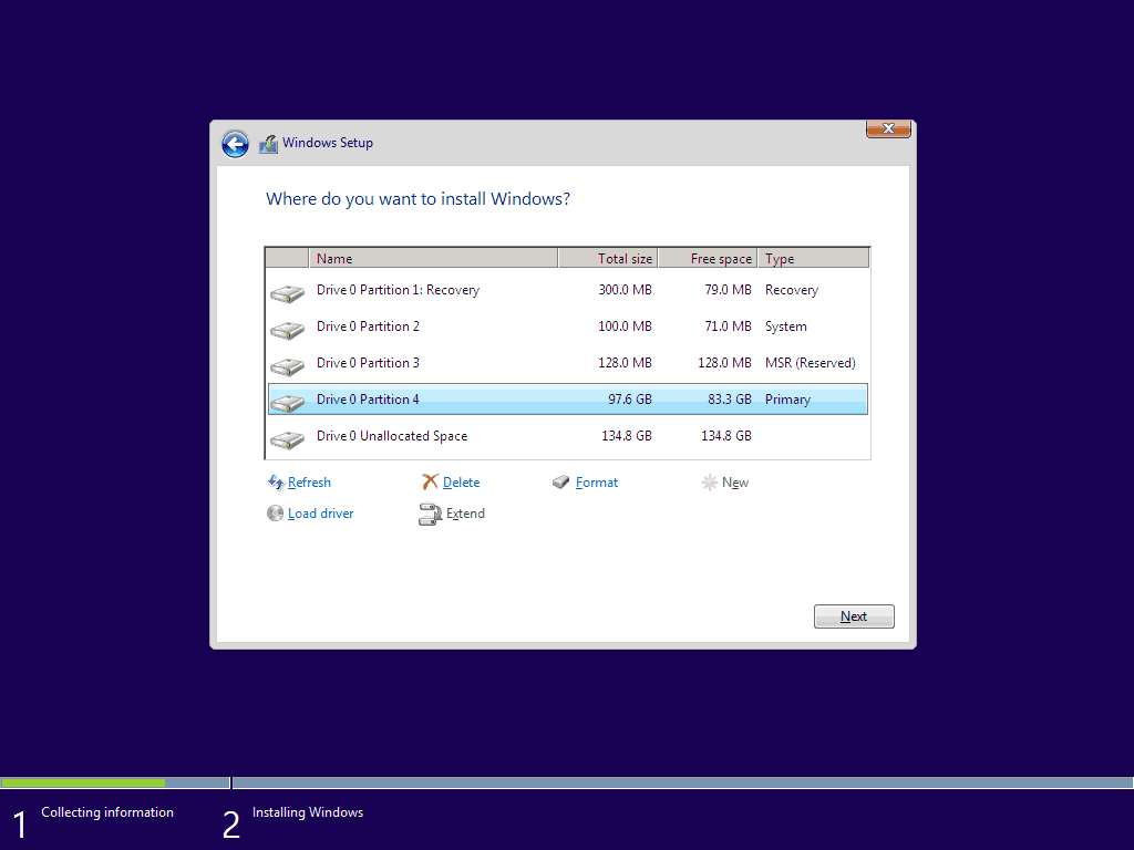 Windows 10 Install Using UEFI