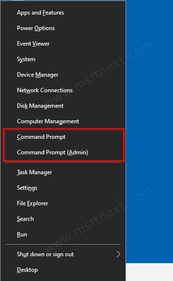 Windows 10 Command Prompt In Win+X