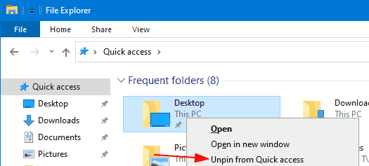 Remove Frequent Folders from Quick Access in Windows 10