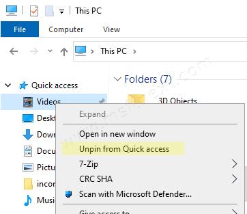 Windows 10 Unpin Folder From Quick Access