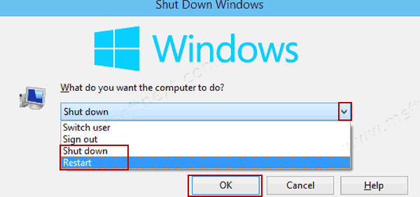 Windows 10 Shut Down Windows Alt+F4 Dialog