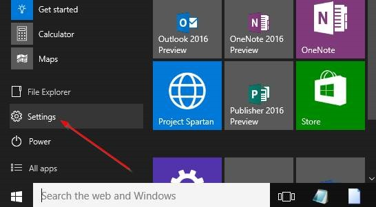 Windows 10 Start Menu Settings Icon