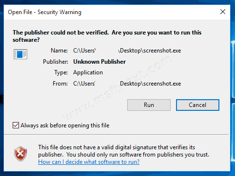 Windows 10 Publisher Cannot Be Verified