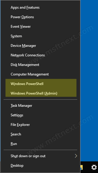 Windows 10 Run Powershell From Win Plus X Menu