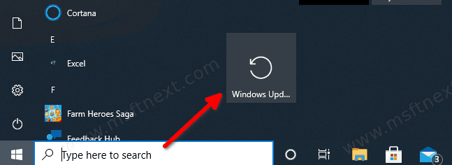 Pin Windows Update To Start Windows 10