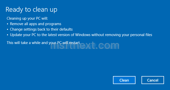Clean Up PC is a new Reset feature in Windows 10 Creators Update