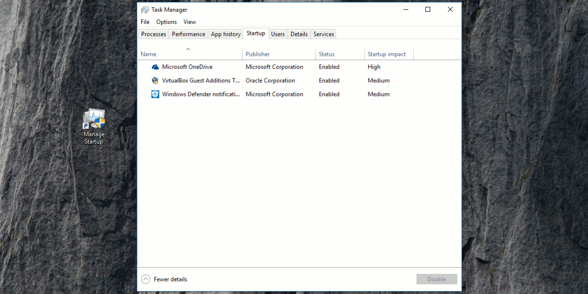 Shortcut to Open Task Manager Startup Tab Directly