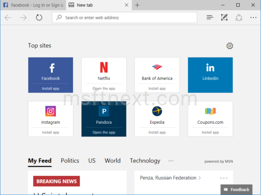 Edge Address Bar Always Visible New Tab Page