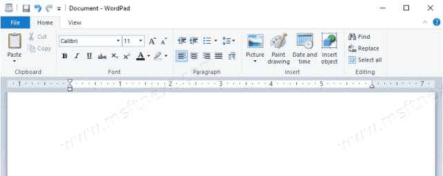 WordPad Keyboard Shortcuts in Windows 10