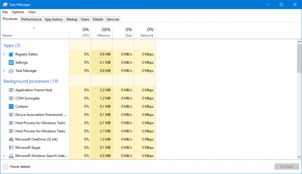 Windows 10 Task Manager Full View