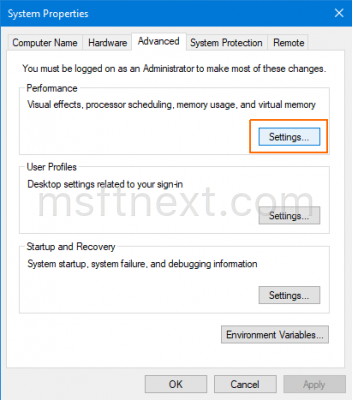 System Properties Perfomance Settings