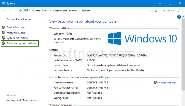Windows 10 Advanced System Properties Link