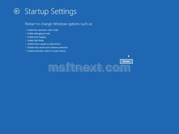 Windows 10 Startup Settings Restart Button