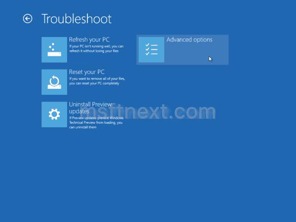 Windows 10 Advanced Troubleshoot Options