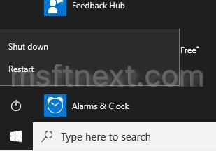 Windows 10 Shutdown Menu