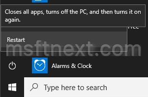 Windows 10 Shutdown Menu Restart Command