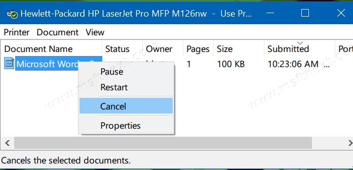 Remove Stuck Jobs from Printer Queue in Windows 10
