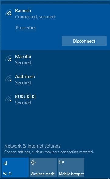 Hide Neighborhood WiFi from Network List in Windows 10