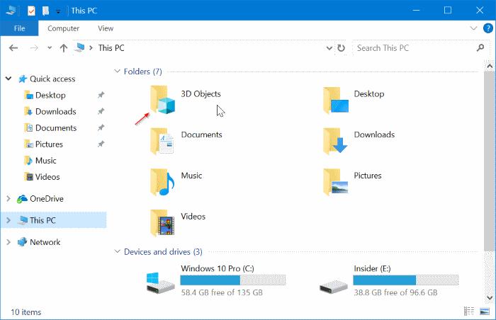 3D Folder This PC Windows 10