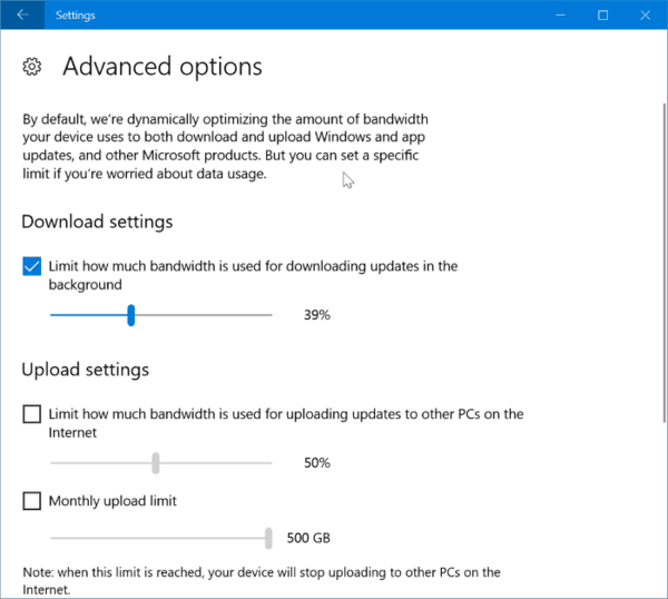 Limit Windows Update Bandwidth Usage In Windows 10