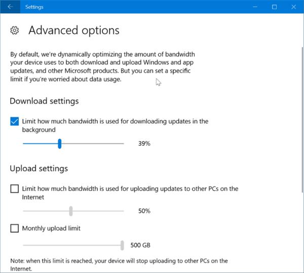 Limit Windows Update Bandwidth Usage In Windows 10