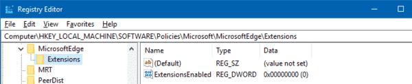 Prevent Installing Extensions Edge Registry