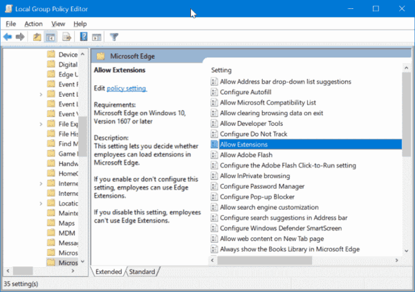Prevent Installing Extensions In Microsoft Edge