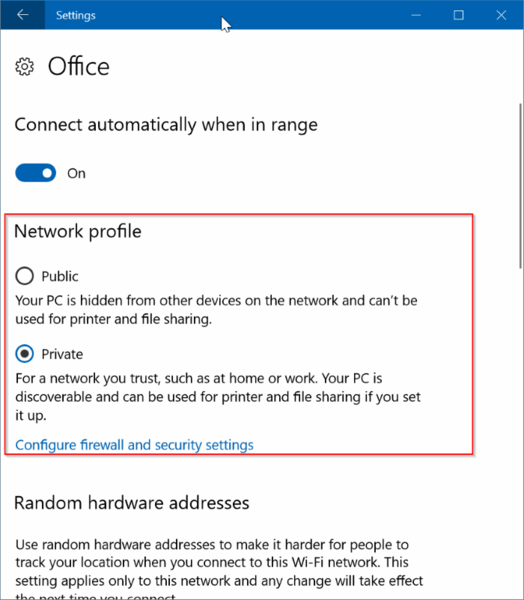 Set Network Location To Public Or Private In Windows 10