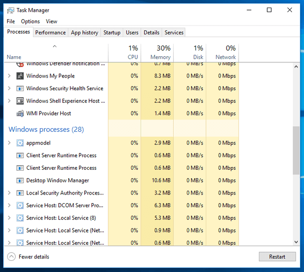 Task Manager Windows Processes Group