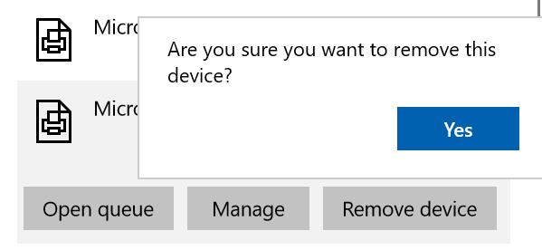 Windows 10 Remove Microsoft XPS Document Writer Confirmation