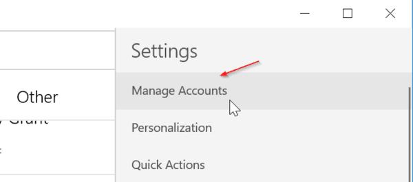 Click Manage Accounts