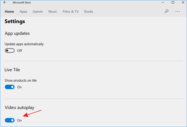 Disable Video Autoplay Microsoft Store