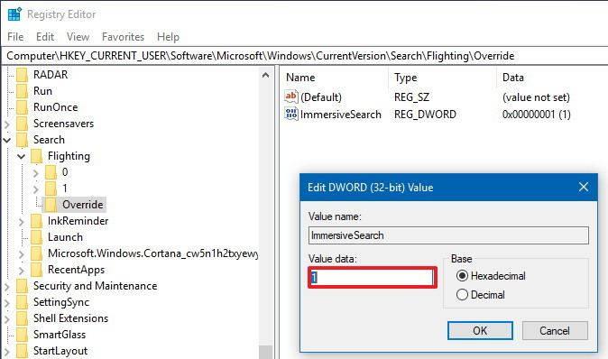 Immersivesearch Windows 10 Regedit
