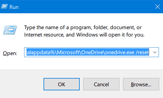 Reset OneDrive In Windows 10