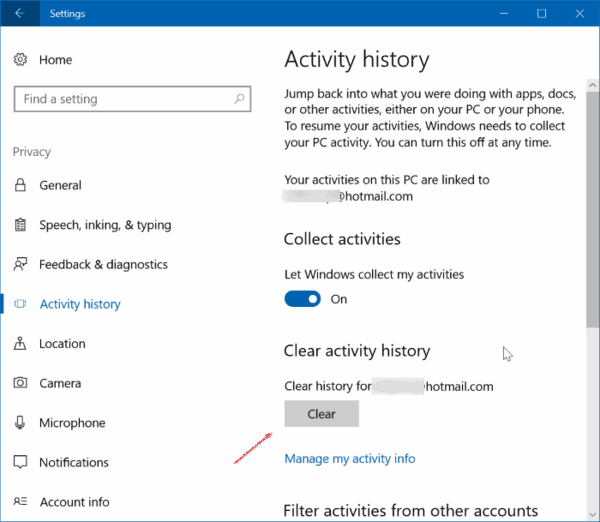 Clear Activity History Windows 10