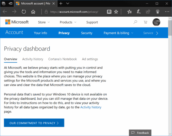 View Activity History Windows 10 Dashboard