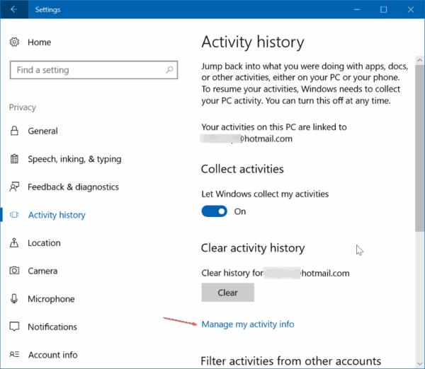 View Activity History Windows 10