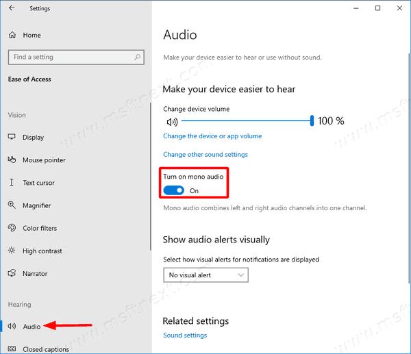 Windows 10 Enable Mono Audio 1