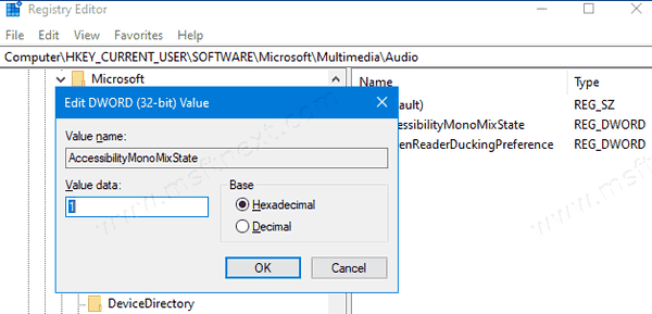 Windows 10 Enable Mono Audio 2