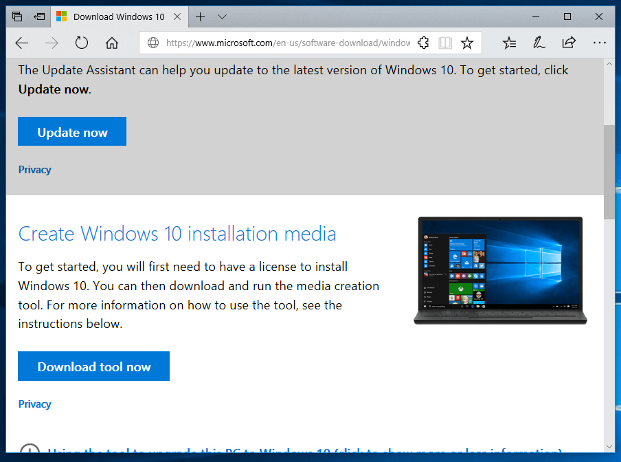 Windows 10 ISO Download Page