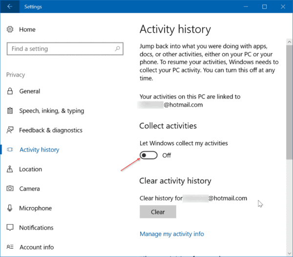 How To View And Clear Activity History In Windows 10
