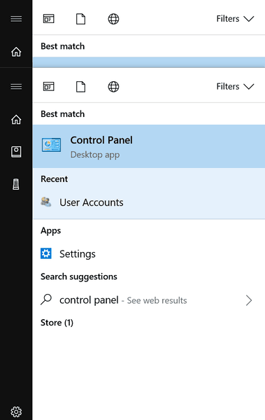Open Control Panel Windows 10