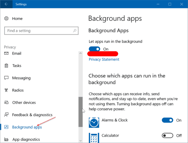 Prevent Apps From Running In Background In Windows 10