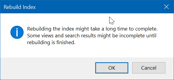 Rebuild Search Index Prompt