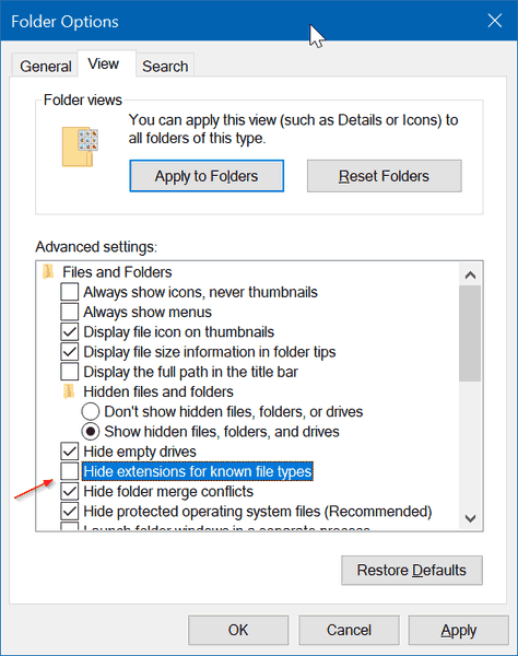 Show Or Hide File Extensions Windows 10 Folder Options