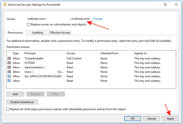 Take Ownership Of A Registry Key 5